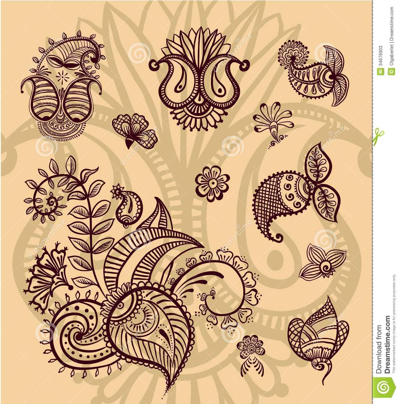 Paisley Flowers Henna Tattoo Design: Stock Photos: Floral Paisley Design