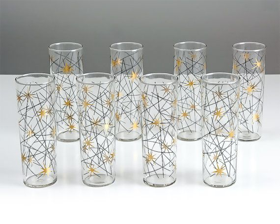 Perfect Vintage Atomic Tom Collins Glasses / Set Of Eight Mid Century Modern Barware  / Starburst / Drinking Glass