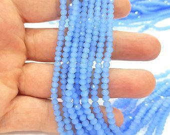 True Blue perles de verre Rondelle facettes 140 Pcs (4 x 3