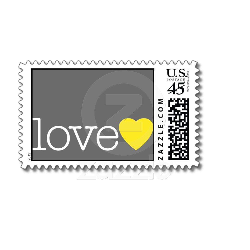 Love with a yellow heart and grey postage   Zazzle com