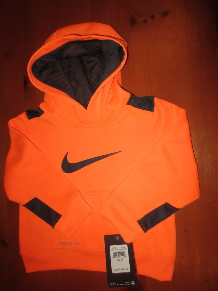 reasonable price exclusive deals where to buy NEW NIKE BOY'S 2 / 2T THERMA FIT JACKET HOODIE NEON ORANGE ...