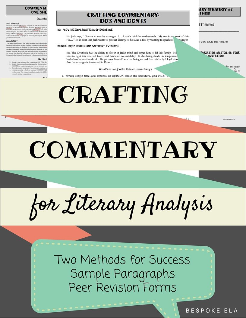 Writing Commentary For The Literary Analysis Essay  Students
