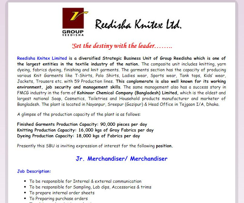 Reedisha Knitex Limited  Post Jr Merchandiser Merchandiser