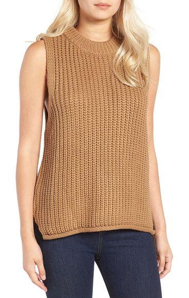 rib knit sleeveless sweater by J.O.A.. A chunky rib-knit texture defines a  sleeveless