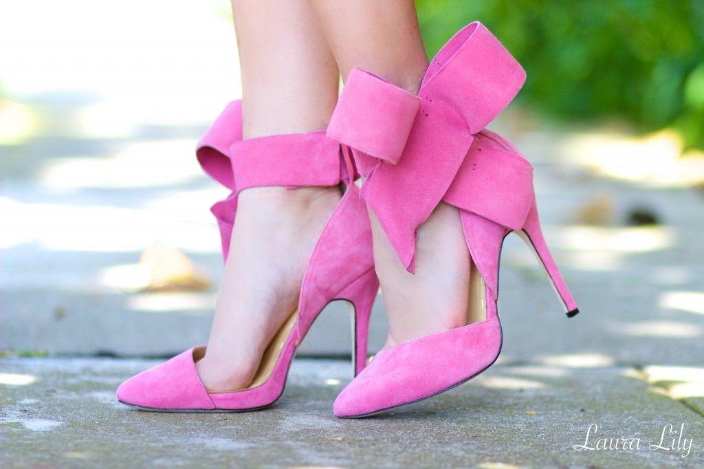 Pink Bow Shoes Heels | Tsaa Heel