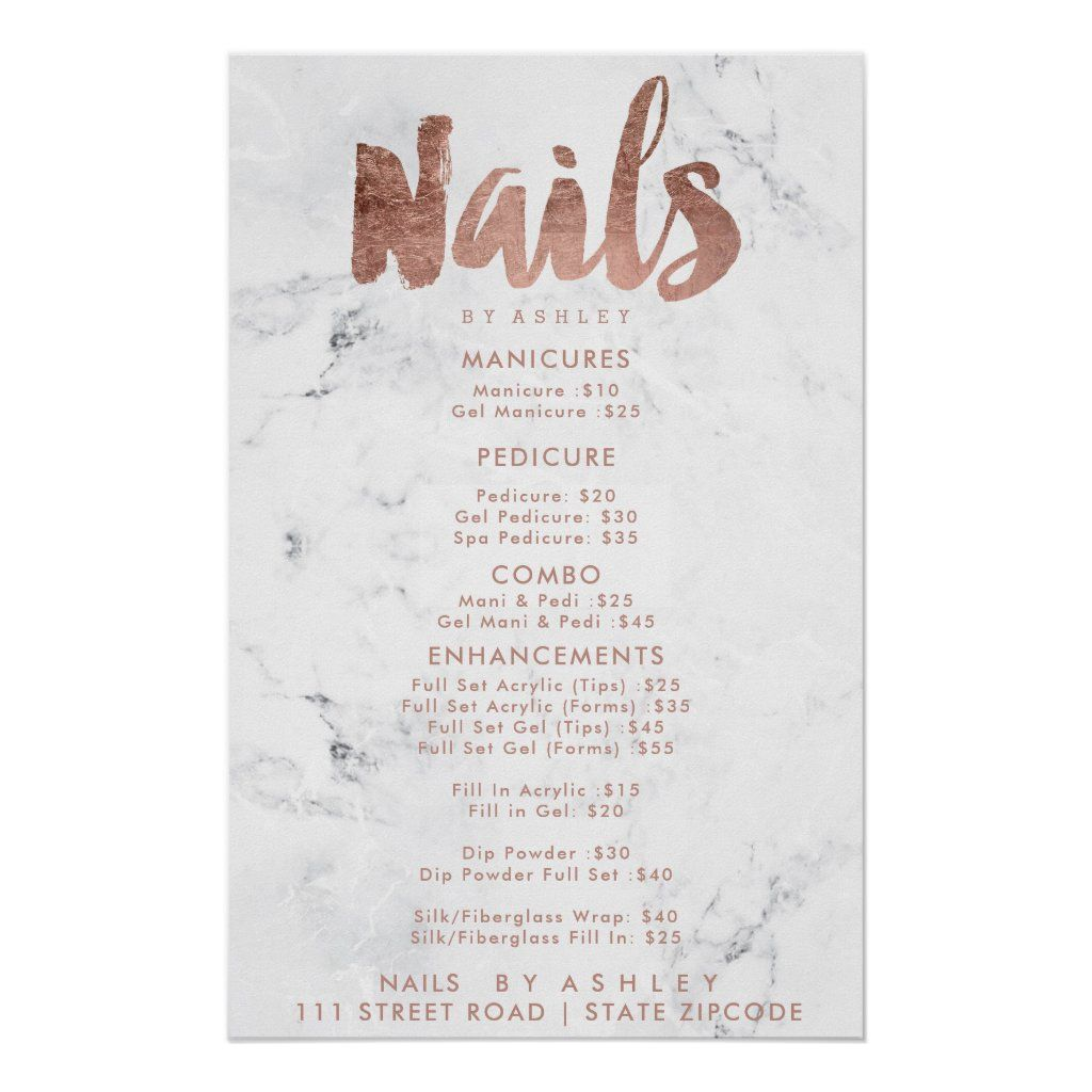 Nails price list typography rose gold white marble poster