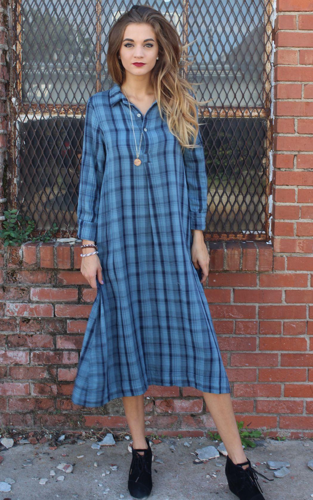 Rummer Dress - Blue Navy Plaid | CP Shades | It's a Shopping Thing