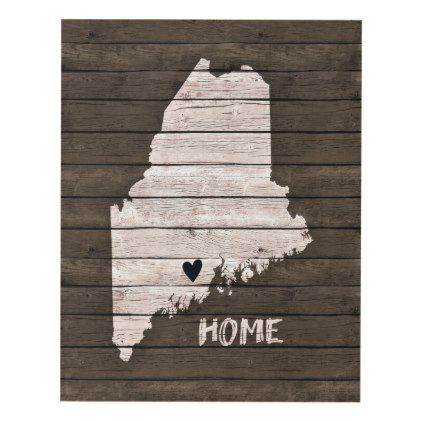 Maine Home Distressed On Faux Brown Wood Panel Wall Art   Diy Cyo  Personalize Design Idea