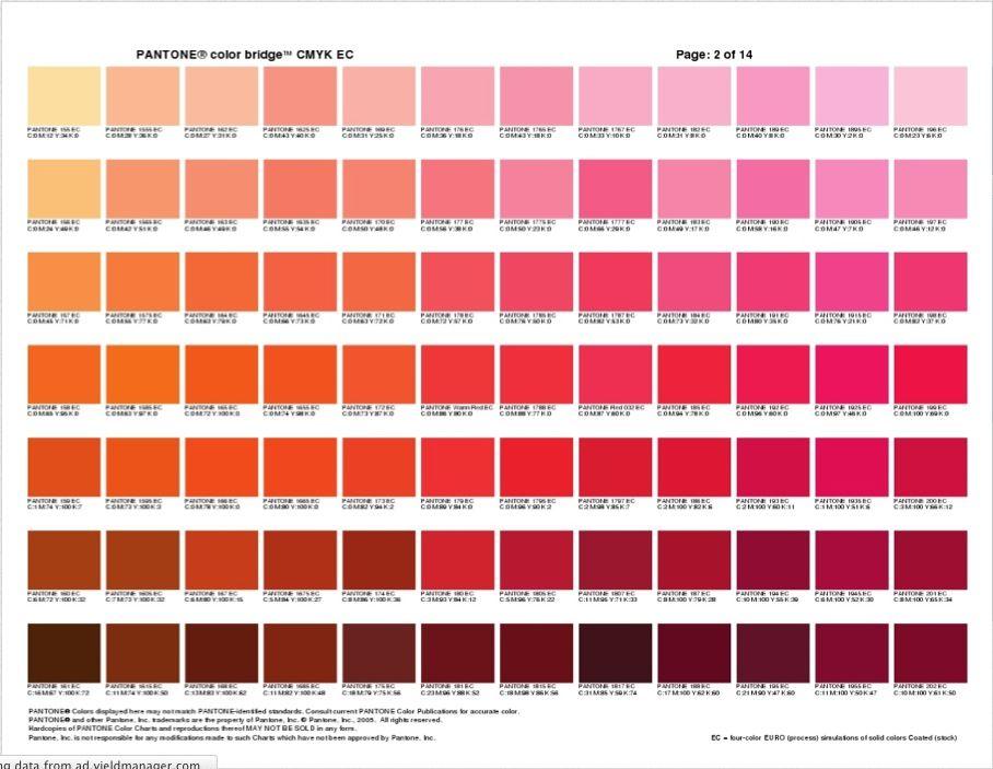 Pantone Color Bridge   Orange  Pink  Pantone Colour Chart