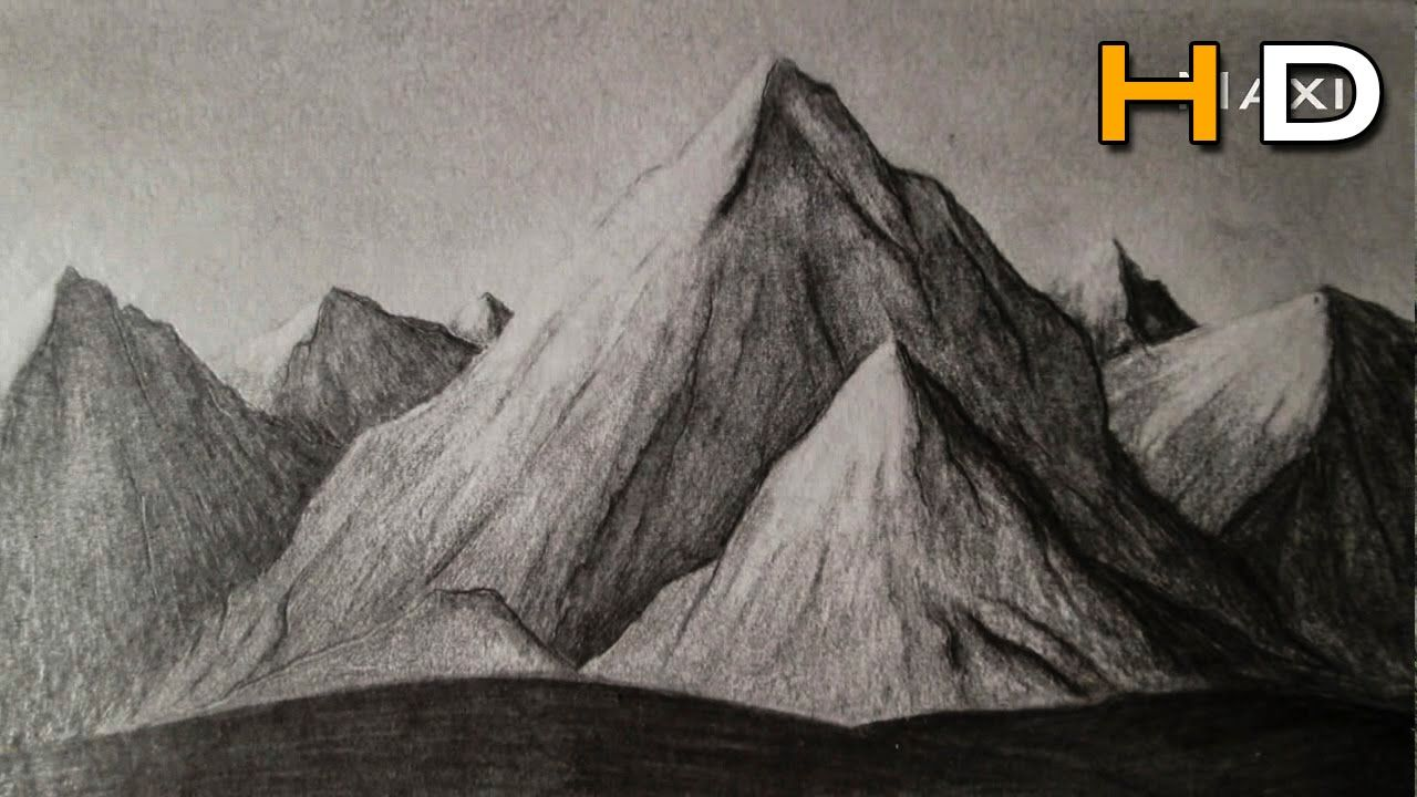 How To Draw Mountains Whith Pencil Step By Step Drawing Landscape Subt Mountain Drawing Pencil Drawings Realistic Drawings