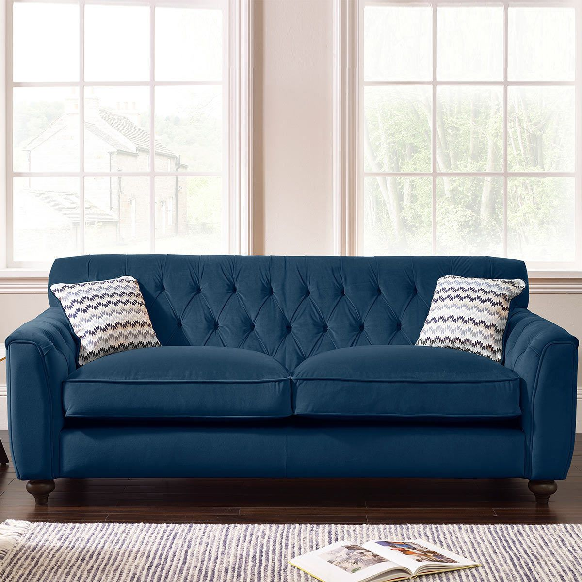 Avante Button Back 3 Seater Velvet Sofa with 2 Accent