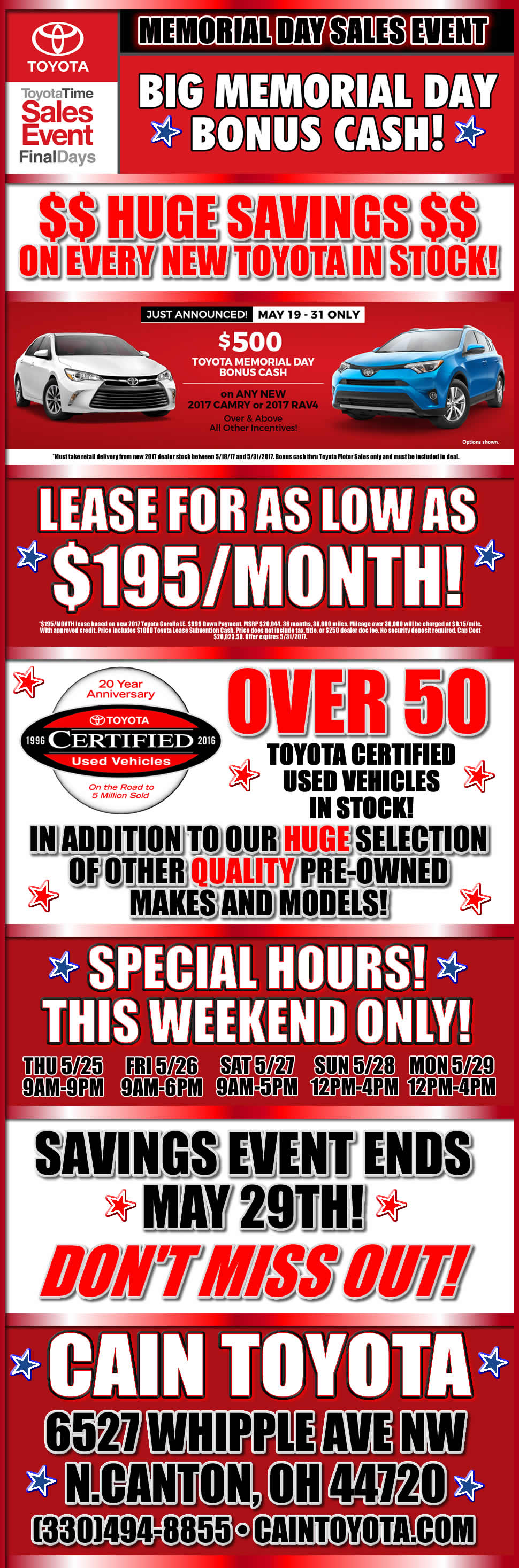 Our Memorial Weekend Sales Event Is On Now Stop In And Check Out The Deals Toyota For Sale Toyota Dealers Toyota