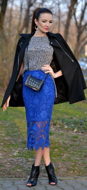 9cdd3a8080aaa Blue Lace Pencil Skirt Outfit Idea by My Silk Fairytale Pantalon Bleu  Électrique, Jupes Crayon