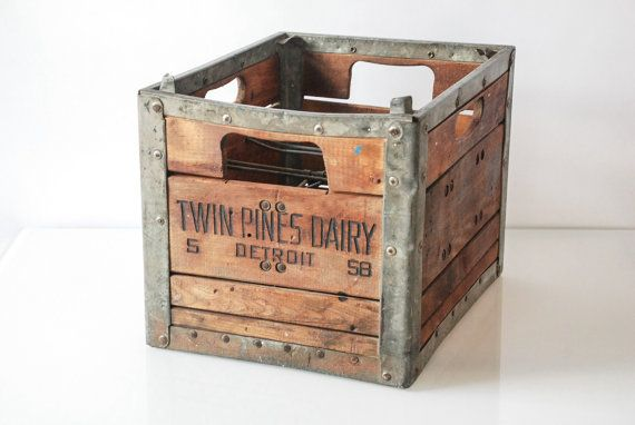 Wood Crate Milk Crate Rustic Wooden Crates Wood Box Twin Pines Dairy Crate Detroit Wooden Metal Vintage Milk Crates Crate Decor Crates