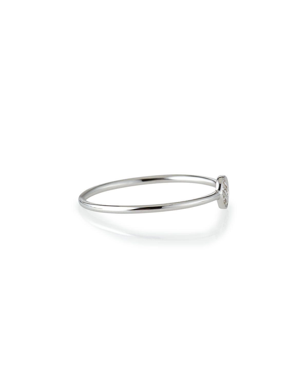 White Gold Pave Diamond Disc Ring, Size 6