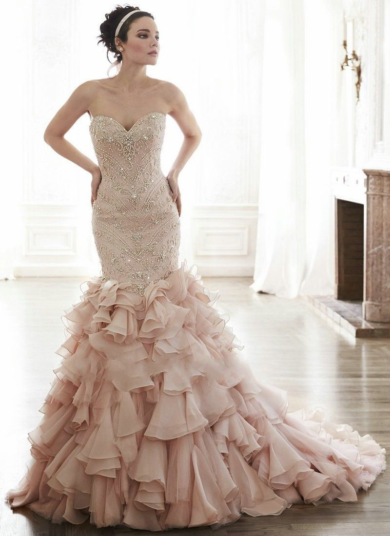 Pink Mermaid Wedding Dress 2015 Beaded Ruffles