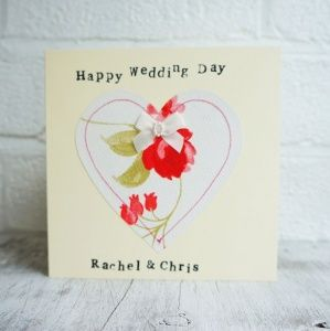Personalised Wedding Card with Red Floral Heart