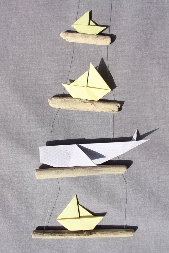 Mobile Bois Flotte Origami Baleine Bateau Voilier Decoration Etsy Driftwood Mobile Sailboat Decor Origami
