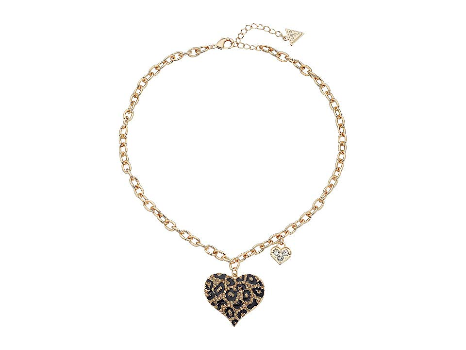GUESS Guess Gone Wild Animal Print Heart Necklace LeopardGold Necklace Live your life wild and carefree Let your look reflect your attitude with this GUESS necklace Silve...