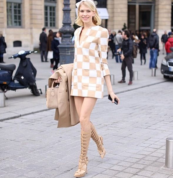 Vuitton dress with Versace heel boots