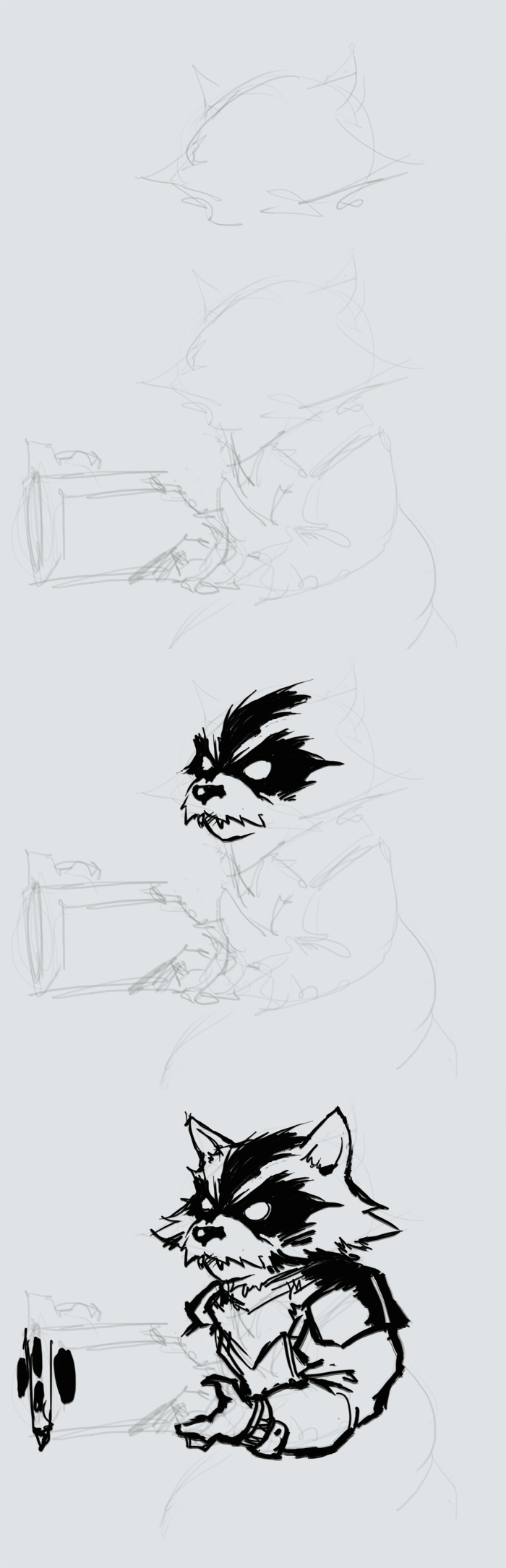 How To Draw Rocket Raccoon Step By Step And Video Raccoon