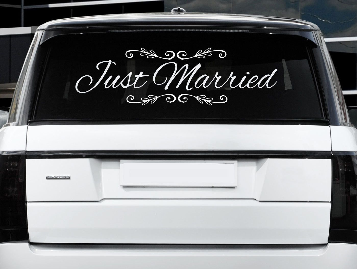 Just married car sign 32x12 wedding decorbride groom wedding gift just married window clings custom wedding window cling car sticker