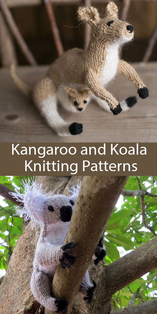 Knitting Patterns for Kangaroo and Koala from Knit Your Own Zoo