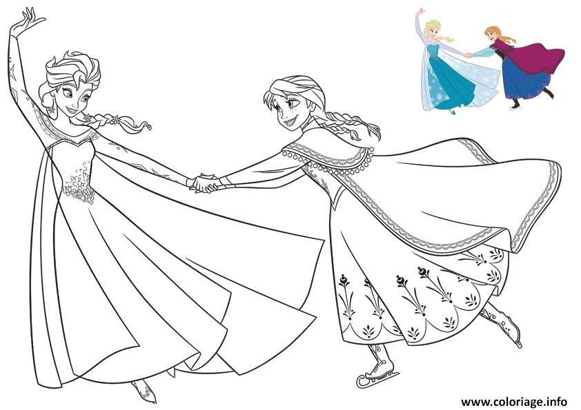 Coloriage Elsa Et Anna Patinent Et Ont Du Plaisir Reine Des Neiges