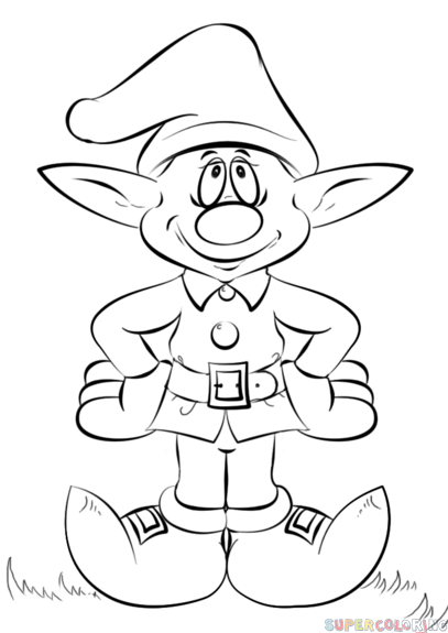 How to draw a christmas elf step by step drawing for Christmas elf coloring pages