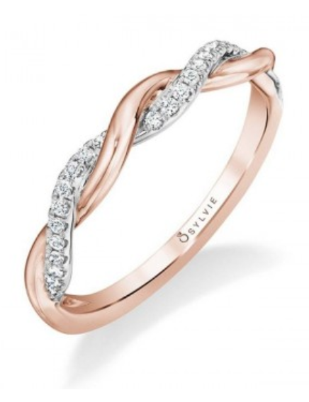 Sylvie Rose Gold Twisted Wedding Band Twisted Engagement Rings Rose Gold Twist Diamond Engagement Rings Twist Wedding Band