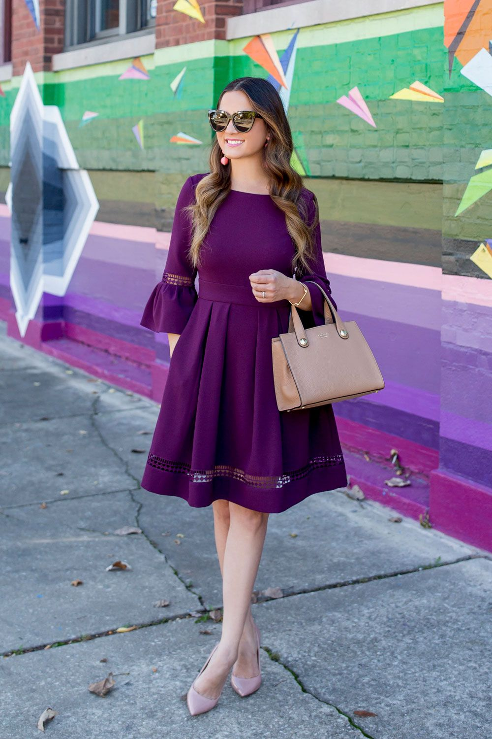 0ce7ba906dc3d Eliza J Burgundy Bell Sleeve Fit and Flare Dress
