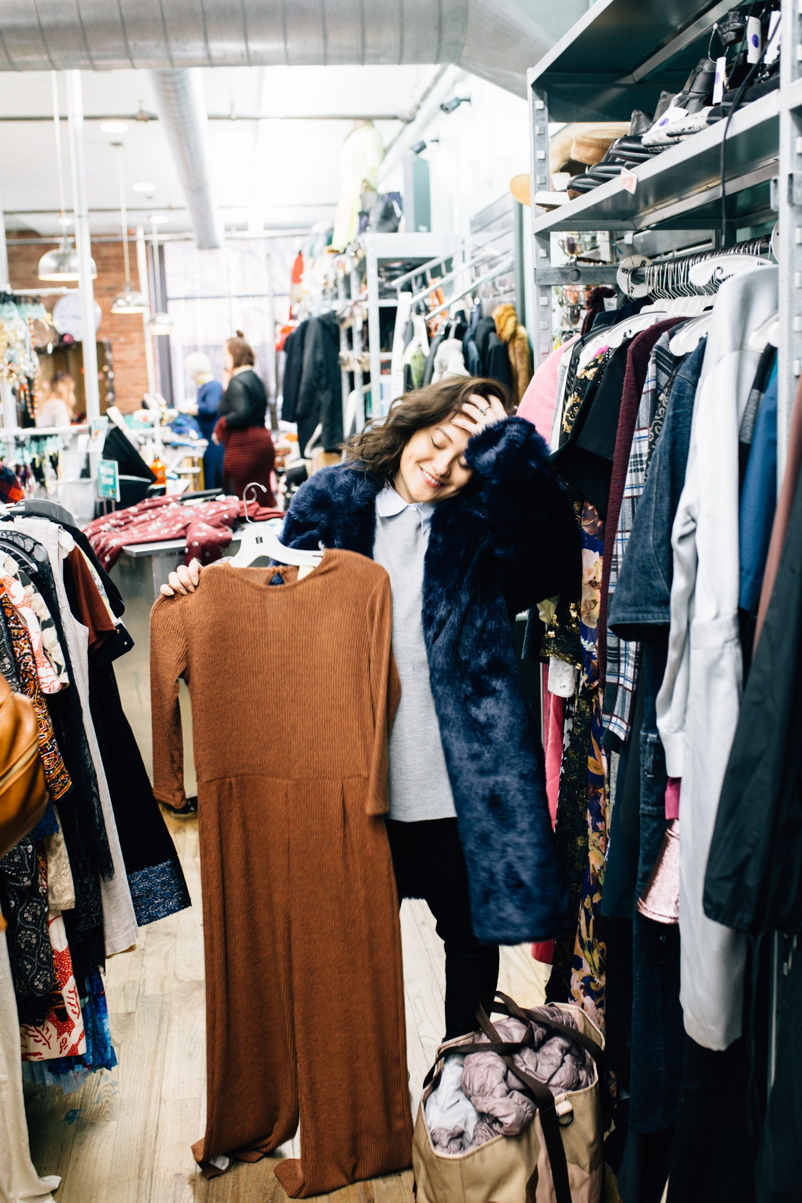 e16d86e46d1 Jumpsuit magic found in Buffalo Exchange! Vintage photoshoot in a thrift  store Williamsburg fashion photoshoot new york brooklyn photographer