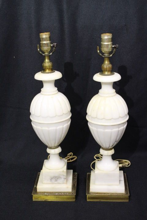 Pair Of 2 Vintage Neoclassical Hand Carved Italian Alabaster