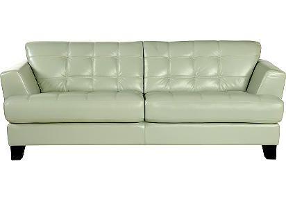 Peachy 988 00 Sale Cindy Crawford Home Avenue Mint Leather Sofa Machost Co Dining Chair Design Ideas Machostcouk