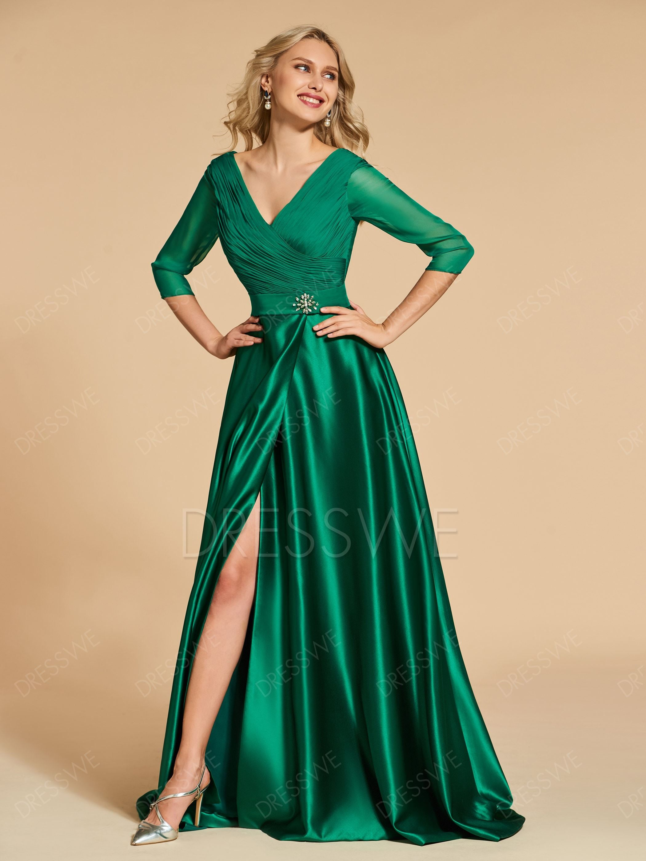 V Neck Pleats Side Slit 34 Long Sleeve Evening Dress In 2018