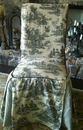 black parsons chair slipcovers indoor wicker waverly cream country life toile parson s cover slipcover gathered skirt slight coordinating fabric