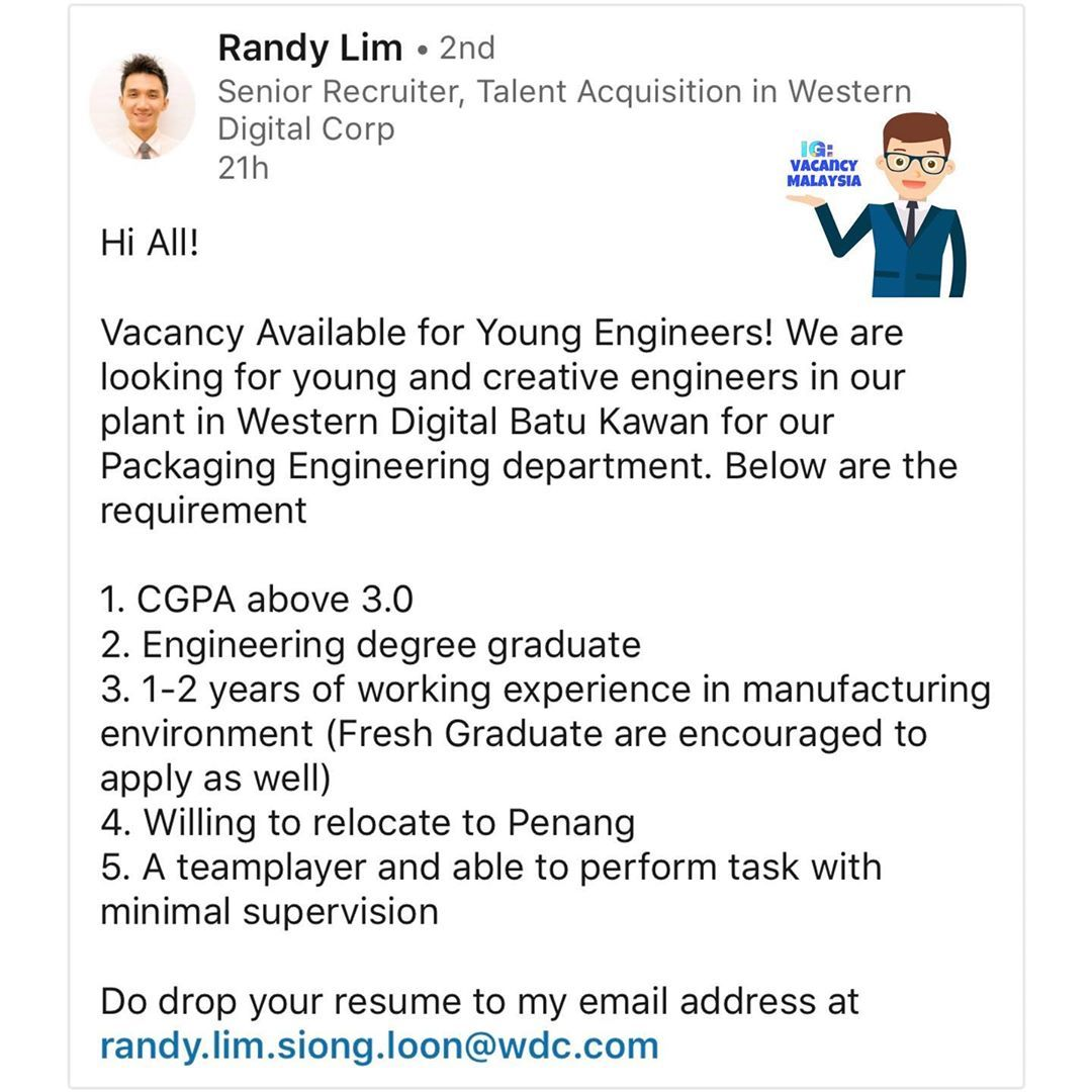 Hi All! Vacancy Available for Young Engineers! We are