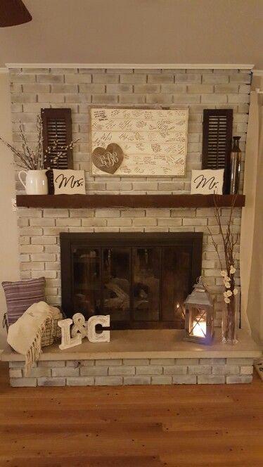 Fireplace Decorations white wash fireplace decor #startthefire #keepitburning
