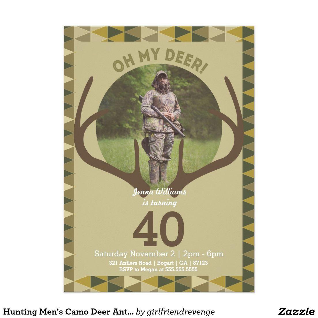 Hunting Men\'s Camo Deer Antlers Birthday Card | Deer antlers ...
