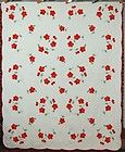 WELL QUILTED 30's Vintage Red & Green Poppy Applique Antique Quilt!