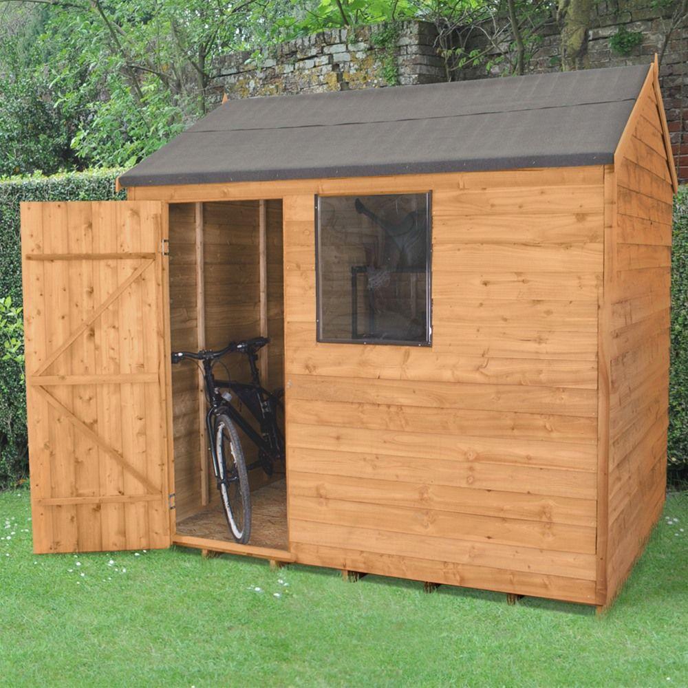 forest garden 8 x 6 overlap reverse apex wooden garden shed