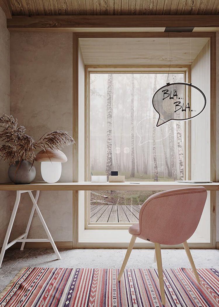 Pink Wood And Concrete Home Office With A View Decoration Interieure Interieur Maison Idees De Design D Interieur