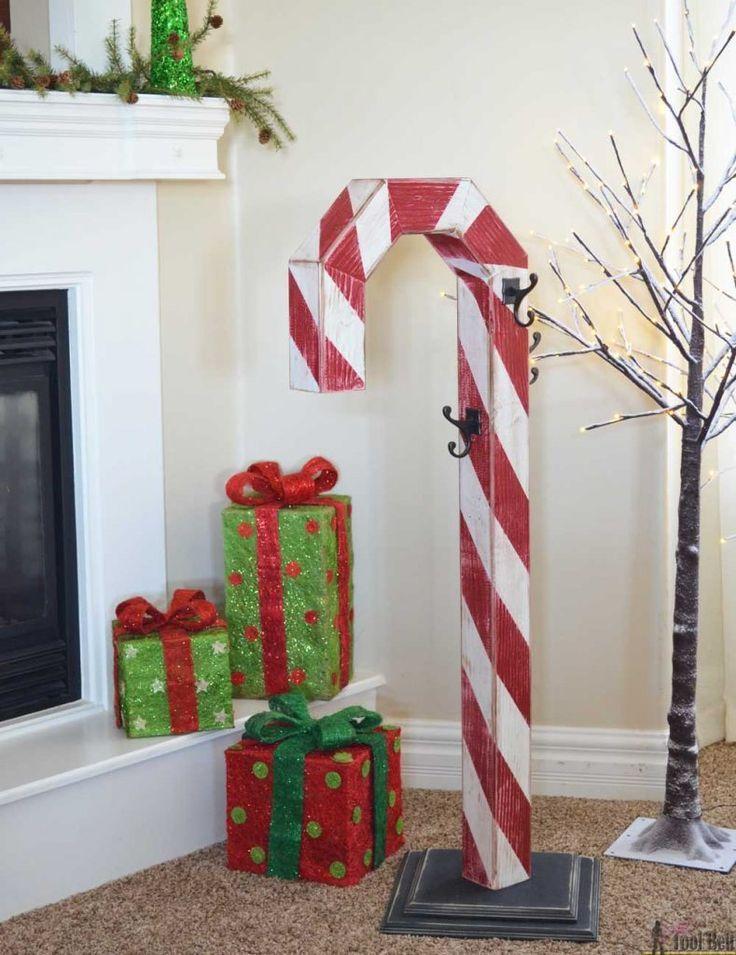 Candy Cane Holiday Stocking Post Christmas Wood Christmas Diy