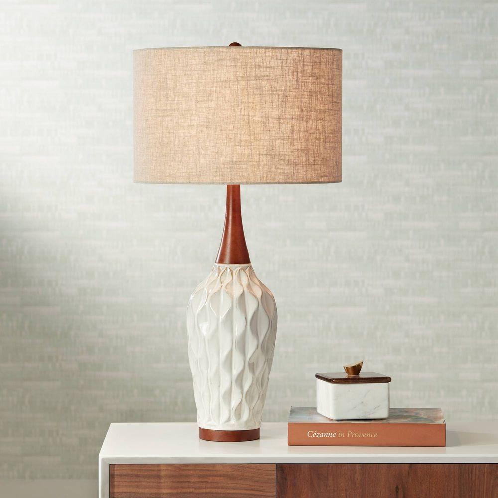 Rocco 30 High Mid Century Modern White Ceramic Table Lamp