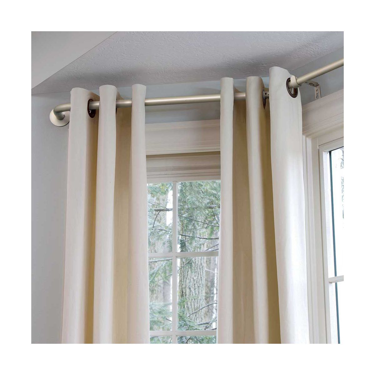 Bay Window Curtain Rod Bay Window Living Room Diy Bay Window Curtains Bay Window Curtain Poles
