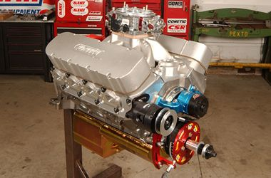 One 565-cubic-inch racin' engine, ready for a trip to the dyno at
