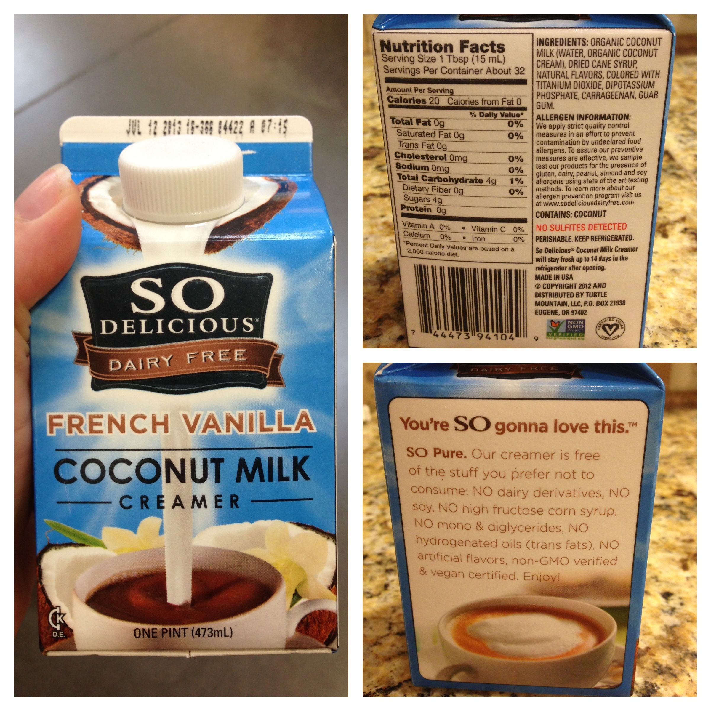French Vanilla Creamer-- No dairy, no soy, no HFCS, no