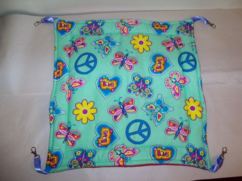 "Large Peace Hanging Bed/ Hammock Guinea Pig Ferret Rat Sugar Glider 18"" x 18''"