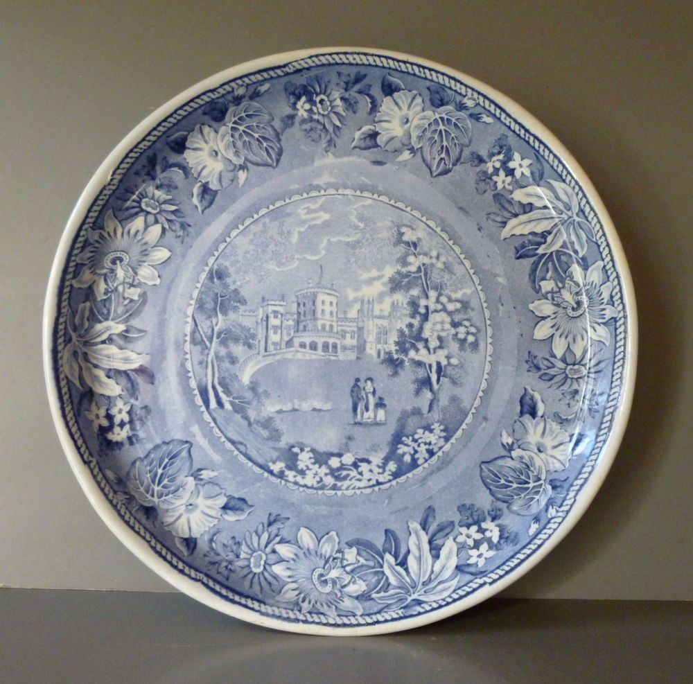 Blue and white pottery - Antique Blue White Pottery Transfer Printed Plate Belvoir Castle Cheese Stand Cakeplatesstands