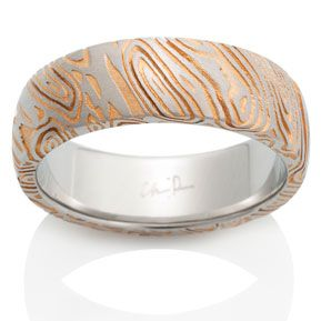 Naked Damascus Ring Triple White Pattern with 24k Gold Wash